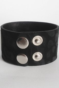 Mikashka - Bransoleta skórzana czarna panterka srebro