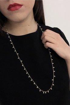 ATdiament - Srebrny pozłacany naszyjnik długi z perełkami