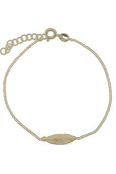 ATdiament - Srebrna pozłacana bransoletka delikatne piórko