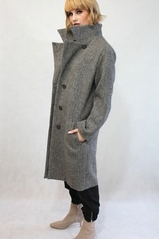 TRUE COLOR by ANN - Wełniany płaszcz CLASSY BROWN