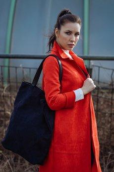 Karolina Audycka - Duża czarna zamszowa torba