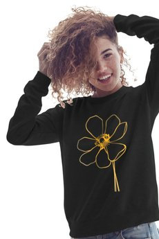 ONE MUG A DAY - Mak złoty czarna bluza raglanowa uni