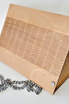 PRODUCREW - Naturalna TRÓJKĄTNA  drewniana torebka, kopertówka, listonoszka.