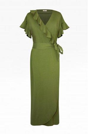 Letnia zielona sukienka z falbankami