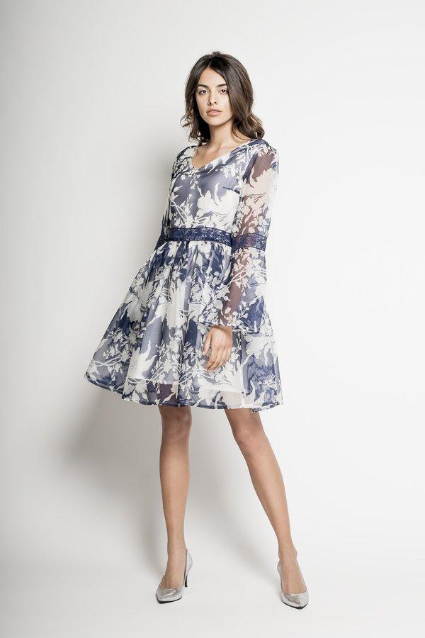 2343cf8694 Yuuko – Jedwabna Sukienka Cocktailowa - Niebieski