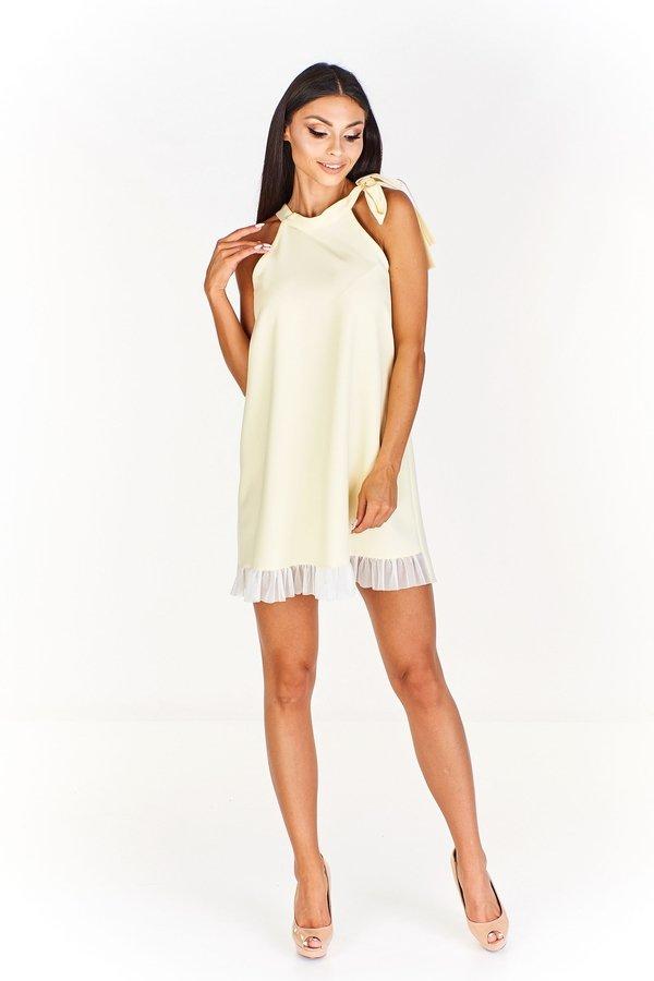 6aa724c778 Sukienka Z Wiązaniem Przy Szyi I Delikatną Falbanką - Żółty