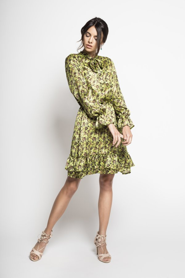 566a9f4cb5 Yoko – Jedwabna Sukienka Seledynowa - Zielony