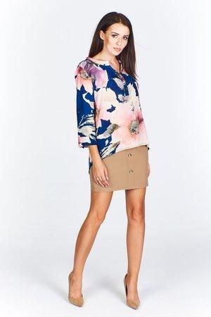 Bluzka damska z ozdobnymi guzikami przy dekolcie