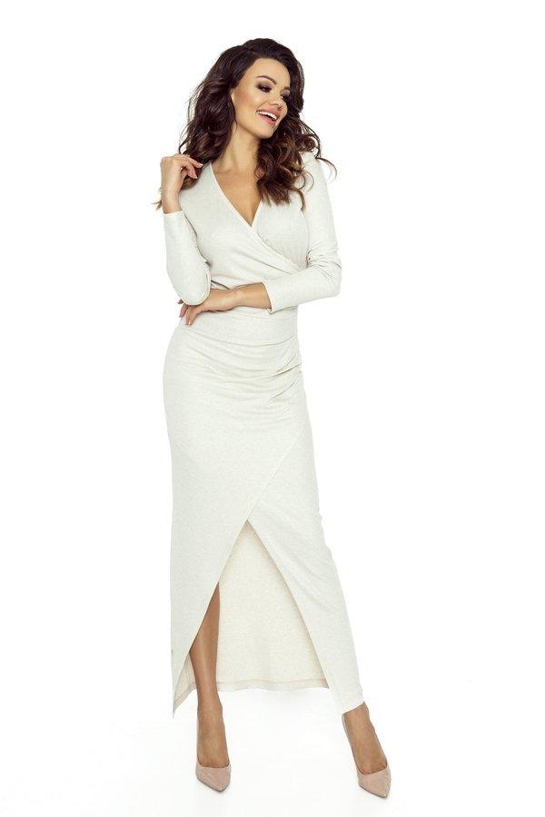 26f7cba07c Kopertowa Sukienka Maxi - Beżowy