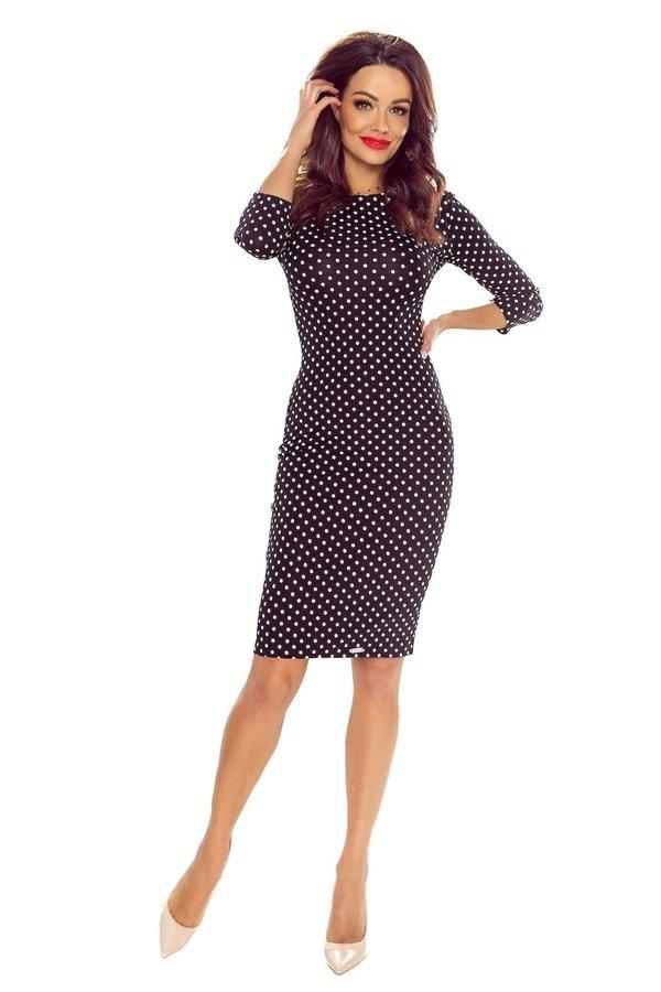 accfee3a40 Sukienka Ołówkowa W Grochy Z Rękawami 3 4 - Czarny