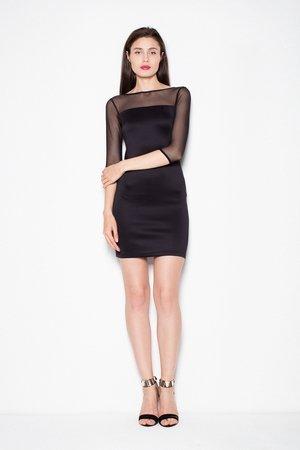 Dopasowana sukienka z transparentną górą