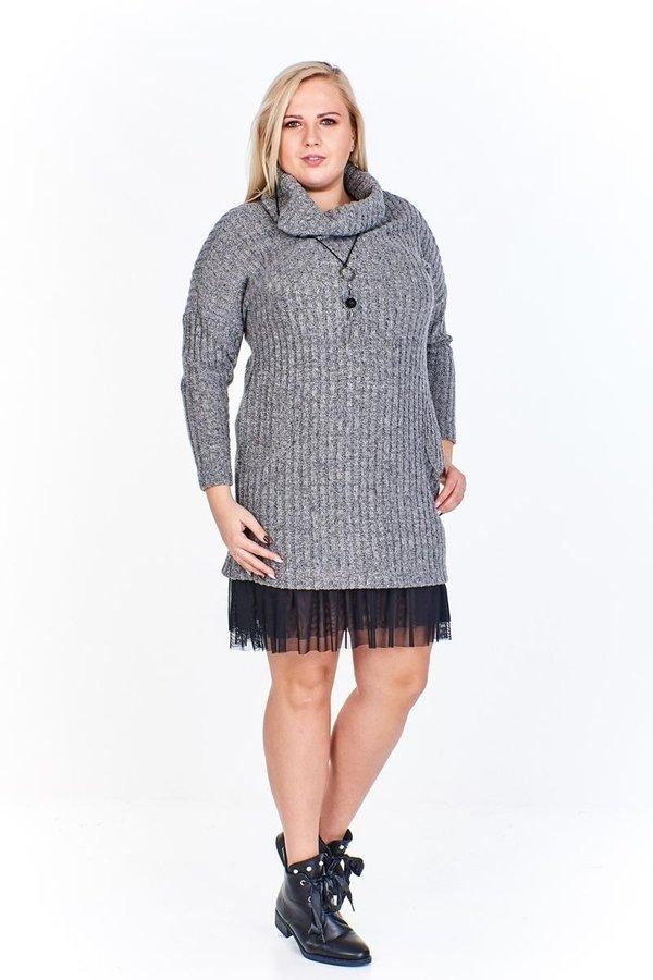 4ad39eacf8 Swetrowa Sukienka Z Golfem I Tiulowym Wykończeniem - Szary