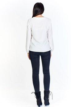 Bird - Monochromatyczna bluzka z kopertowym dekoltem i ukośną falbaną z przodu i lekko bufiastymi rękawami
