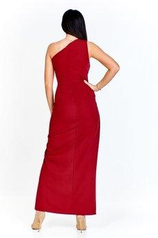 13253ba72f ... Bird - Długa sukienka na jedno ramię z drapowanym bokiem i rozcięciem z  przodu ...