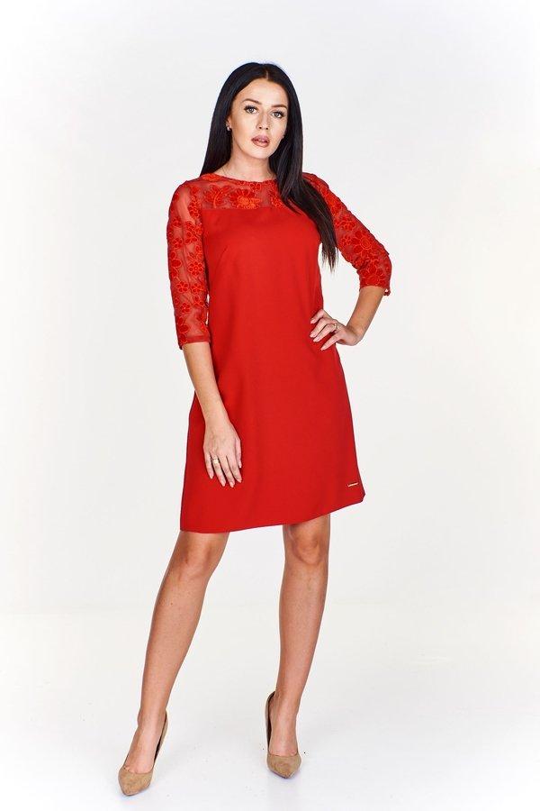 474741745a Trapezowa Sukienka Z Rękawem 7 8 Z Welurowymi Wzorami - Czerwony ...
