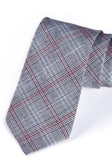 HisOutfit - Krawat męski w klasyczną kratkę z czerwonym elementem