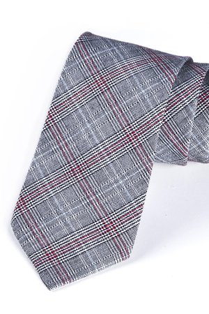 Krawat męski w klasyczną kratkę z czerwonym elementem
