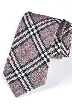 Krawat męski w kratkę z różowym elementem