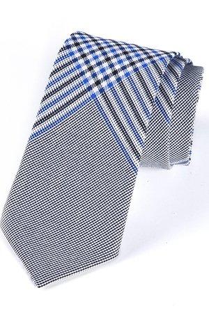 Krawat męski w klasyczną kratkę z niebieskim elementem