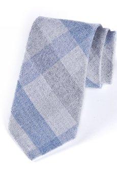 HisOutfit - Krawat męski w kratkę szaro- niebieską