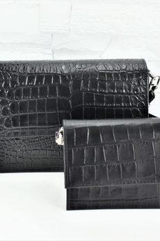 FABIOLA - Skórzana Amelia B ll xs czarny krokodyl duża łuska mat