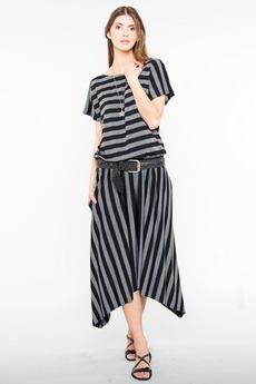 Candy Floss - Sukienka maxi Megan Black Stripes
