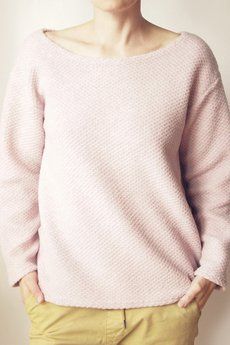 ONE MUG A DAY - Bluza Sweter Jasnoróżowe Bucle