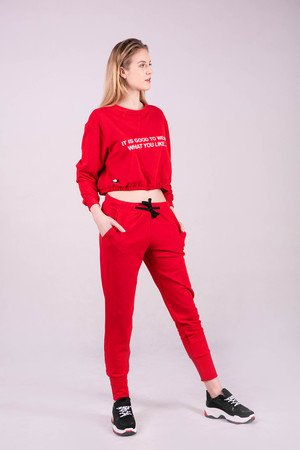Spodnie dresowe damskie ze ściagaczem-CZERWONE