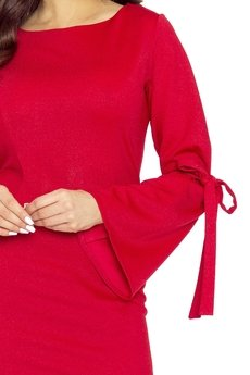 Bird - Połyskująca sukienka z wiązaniami na rękawach