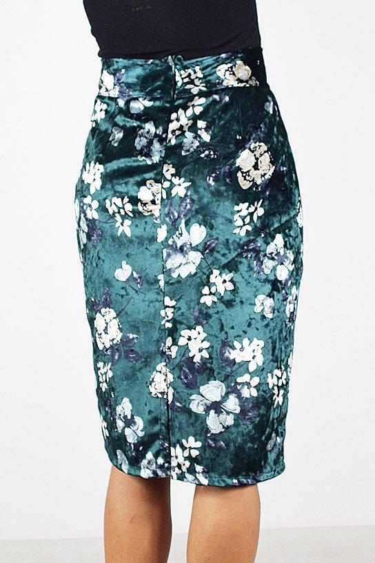 Spódnica Ołówkowa Welur Kwiaty Zielony   Collibri