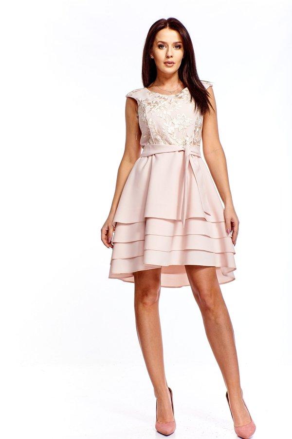 7d900bae14 Wizytowa Sukienka Z Wyszywaną Górą - Beżowy
