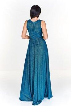 Bird - Długa, zjawiskowa sukienka z kopertowym dekoltem w błyszczącym odcieniu