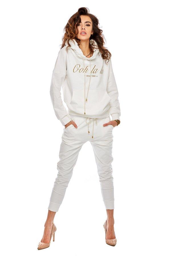 5bc6a69e Eleganckie Spodnie Dresowe Ze Ściągaczem - Biały | Ooh La La ...