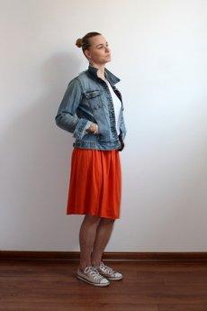 Szarymary - Midi zwiewna spódnica pomarańczowa