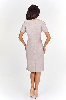 Bird - Żakardowa sukienka pudełkowa z perełkową wstawką