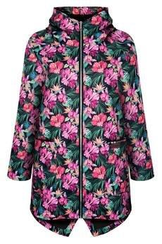 ekoszale - płaszcz wiosenny damski w kwiaty, przeciwdeszczowy