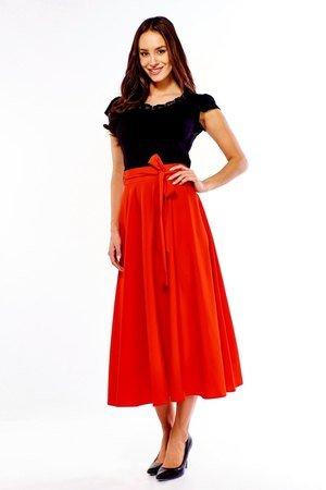 Spódnica długa rozkloszowana Grace czerwona ED033-1