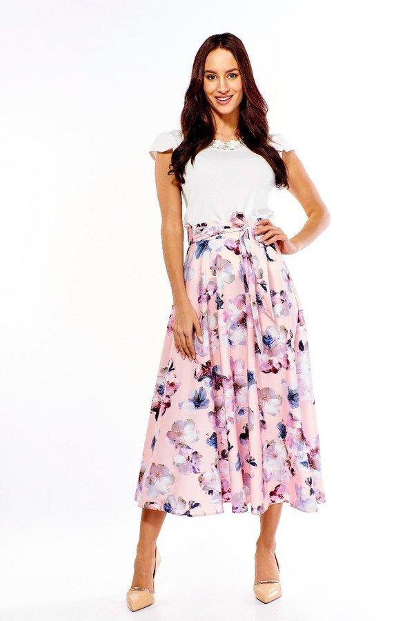 ef7c2299 Spódnica Długa Rozkloszowana Ed033-3 - Różowy   Ella Dora   Spódnice ...
