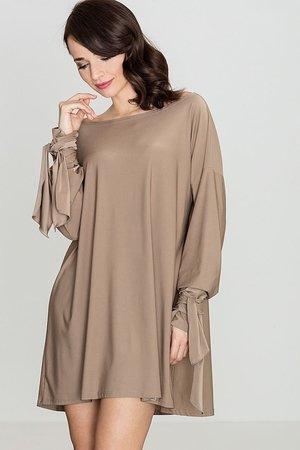 Luźna sukienka z wiązanymi rękawami