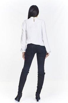 Bird - Monochromatyczna bluzka z falbaniastym przodem z falbaniastą mini a'la stójką i bufiastymi rękawami