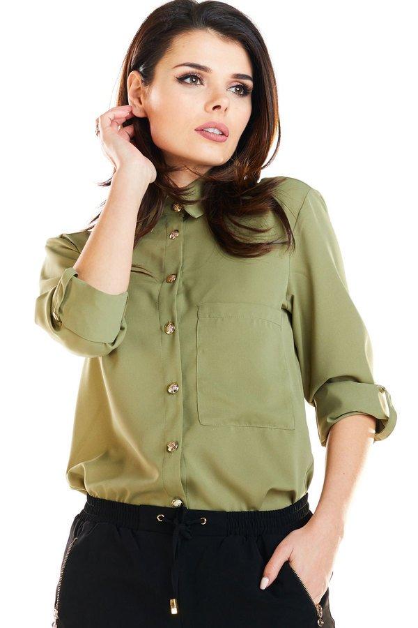 6621cf0f2c6e98 Koszula O Klasycznym Kroju B275 - Zielony | Awama | Koszule Damskie |  Mustache.pl