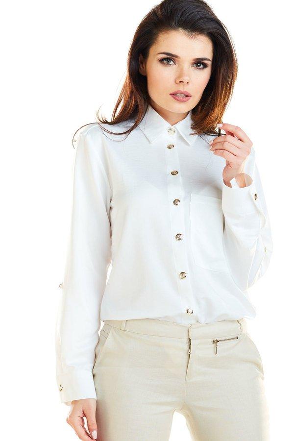 8c11e3fa293506 Koszula O Klasycznym Kroju B275 - Biały | Awama | Koszule Damskie |  Mustache.pl