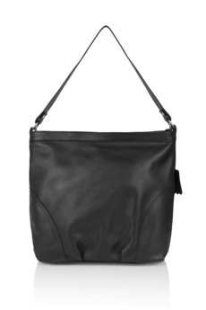 GAWOR - Skórzana popielata torebka worek długi pasek