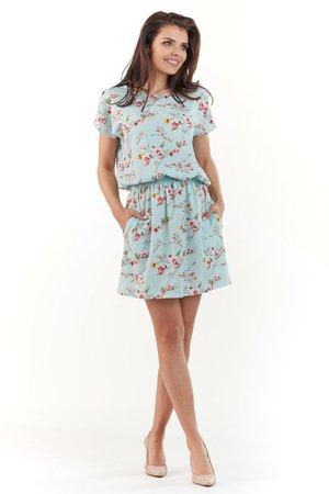 Sukienka mini z gumką w pasie B231