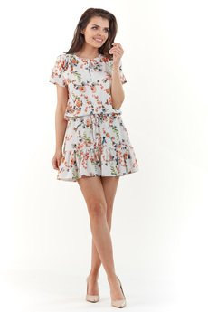Awama - Sukienka mini wiązana w pasie B230
