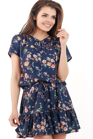 Sukienka mini wiązana w pasie B230