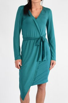 collibri - KAYLA dzianinowa kopertowa sukienka z paskiem
