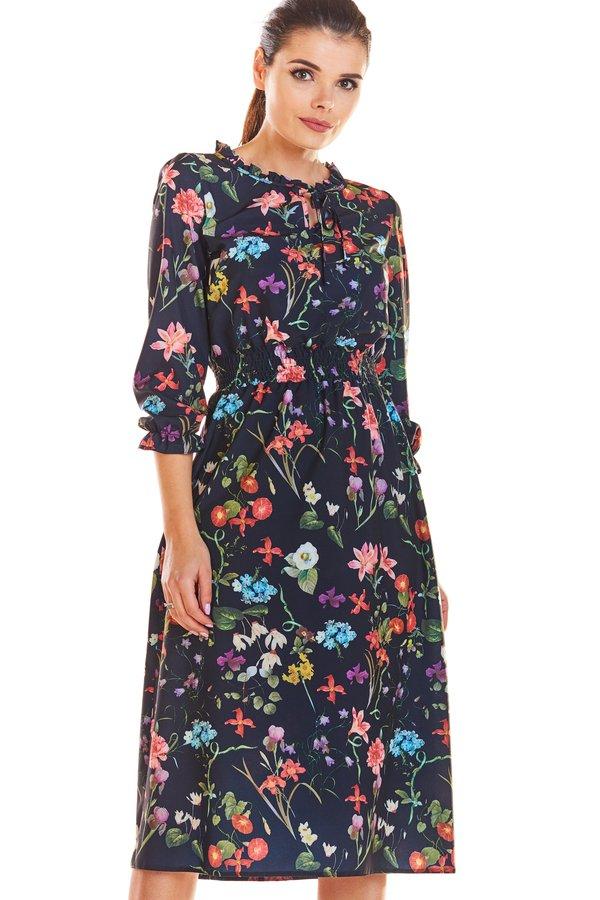 a08716f11f Sukienka Midi W Kwiaty C201 - Granatowy