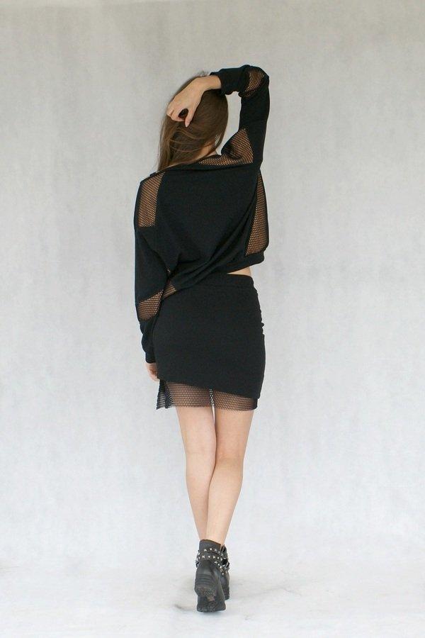 Spódnica Z Siatką Czarny | Yoka | Spódnice Damskie