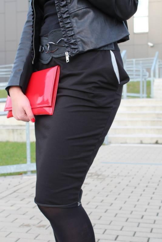 14b965b1f558d5 Sportowa Ołówkowa Spódnica Z Kieszeniami Czarna - Czarny I Różowy |  Szarymary | Spódnice Damskie | Mustache.pl